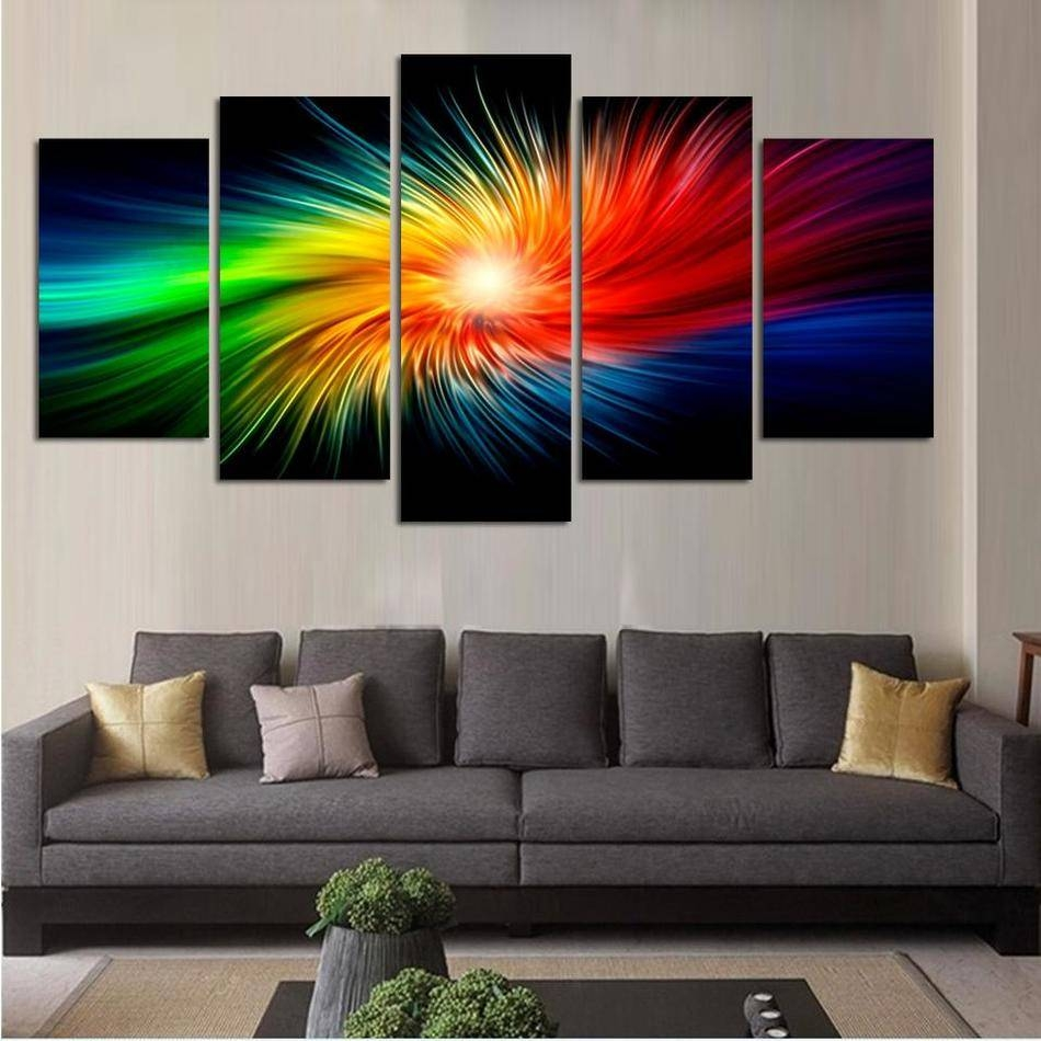 Color Painting Canvas Modern 3D 5 Piece Abstract Wall Art Oil With Best And Newest Abstract Wall Art 3D (View 9 of 20)
