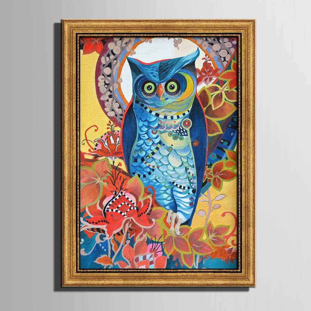 Colored Owl Framed Canvas Art Print Painting Poster,print Wall In Latest Owl Framed Wall Art (View 10 of 20)