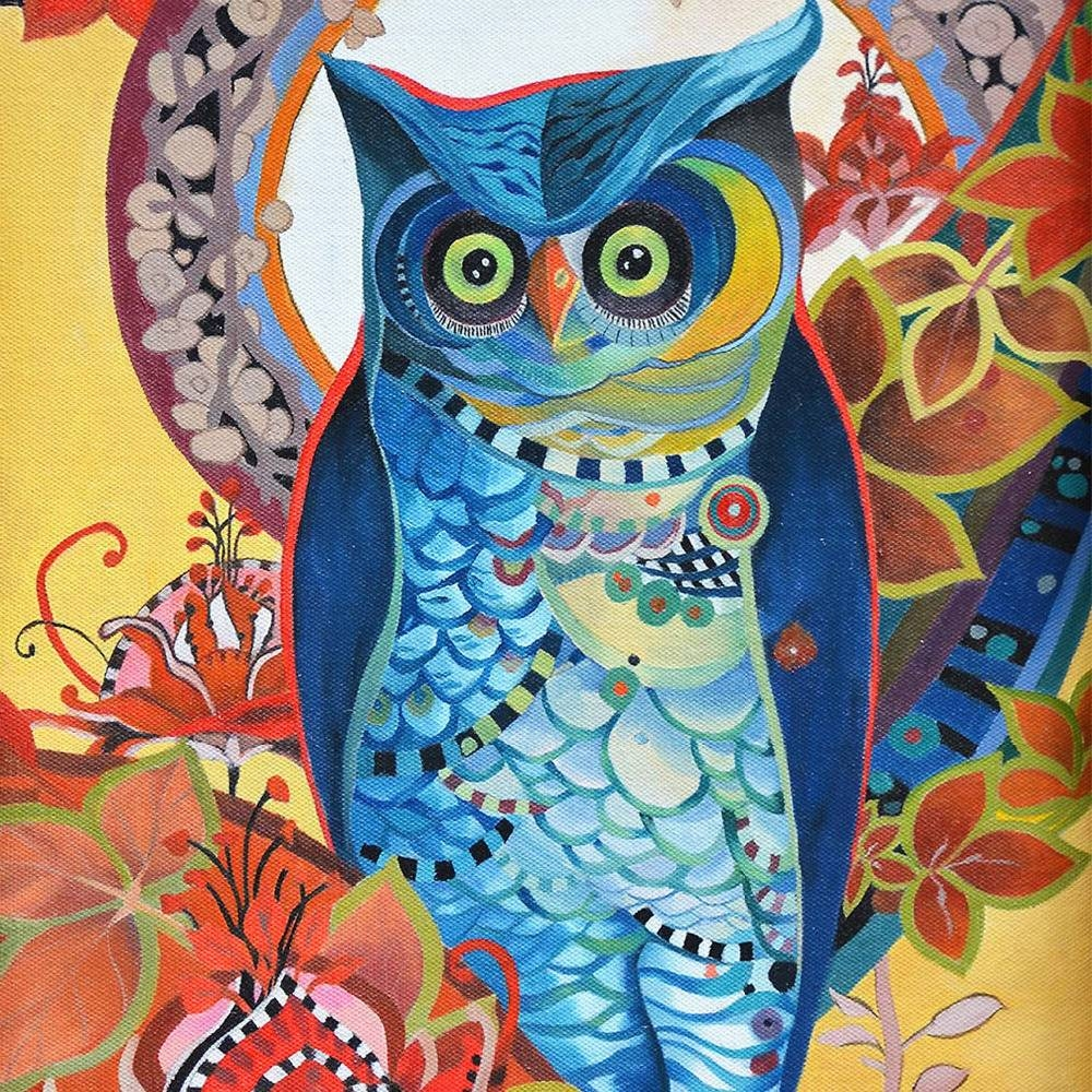 Colored Owl Framed Canvas Art Print Painting Poster,print Wall Pertaining To 2017 Owl Framed Wall Art (View 11 of 20)