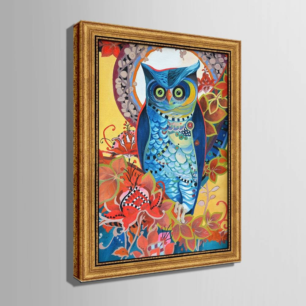 Colored Owl Framed Canvas Art Print Painting Poster,print Wall With Regard To 2017 Owl Framed Wall Art (View 9 of 20)