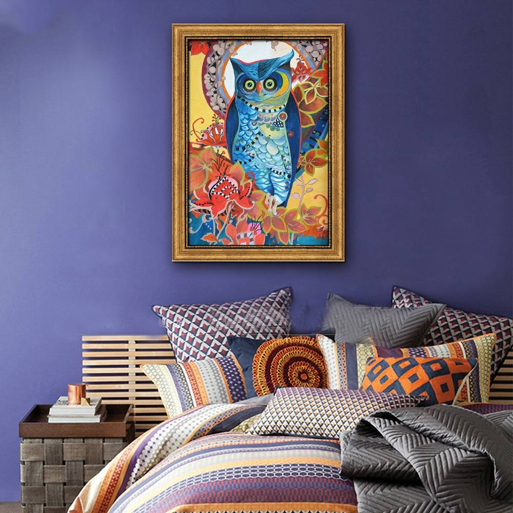 Colored Owl Framed Canvas Art Print Painting Poster,print Wall With Regard To Most Current Owl Framed Wall Art (View 4 of 20)