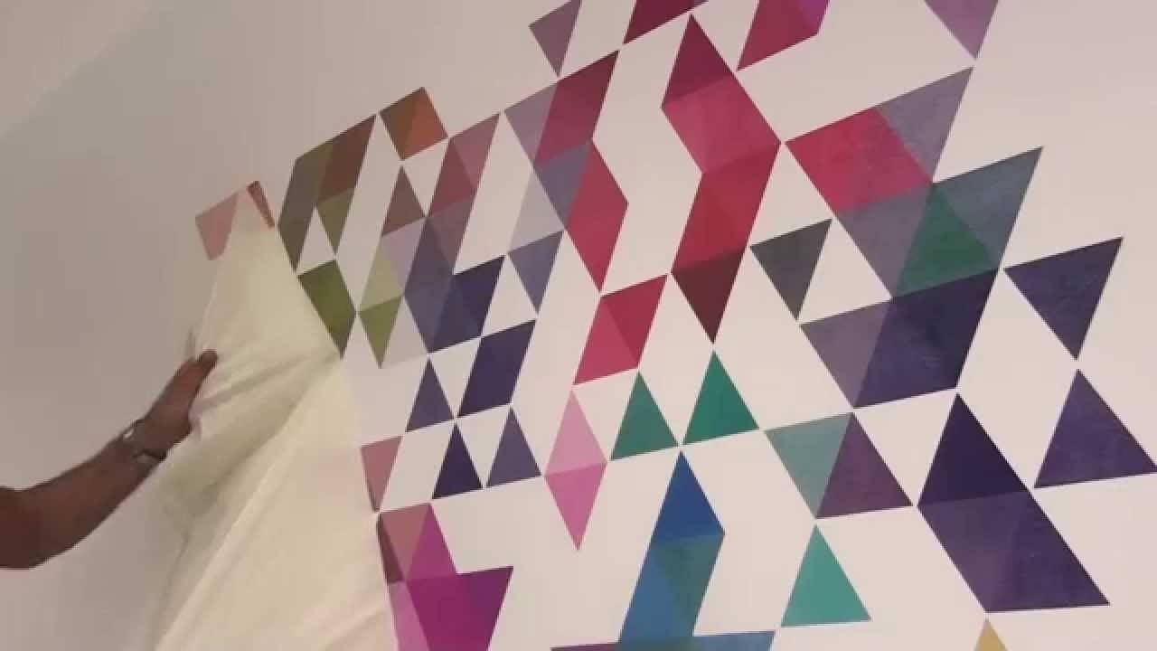 Colored Triangles Wall Decal – How To Apply – Youtube Pertaining To Most Current 3D Triangle Wall Art (View 10 of 20)