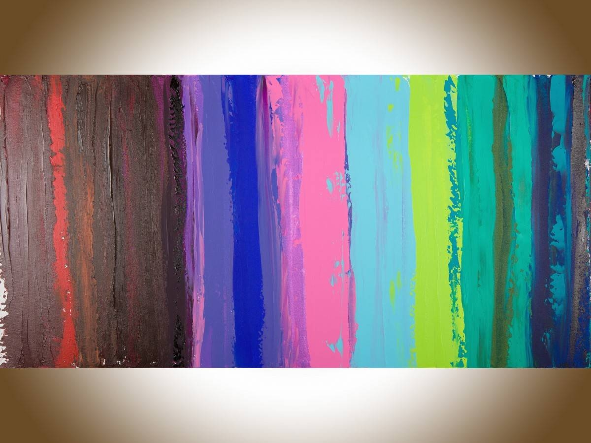 "Colorful Abstract 1Qiqigallery 48""x24"" Original Modern Pertaining To Most Recent Red And Turquoise Wall Art (View 12 of 20)"
