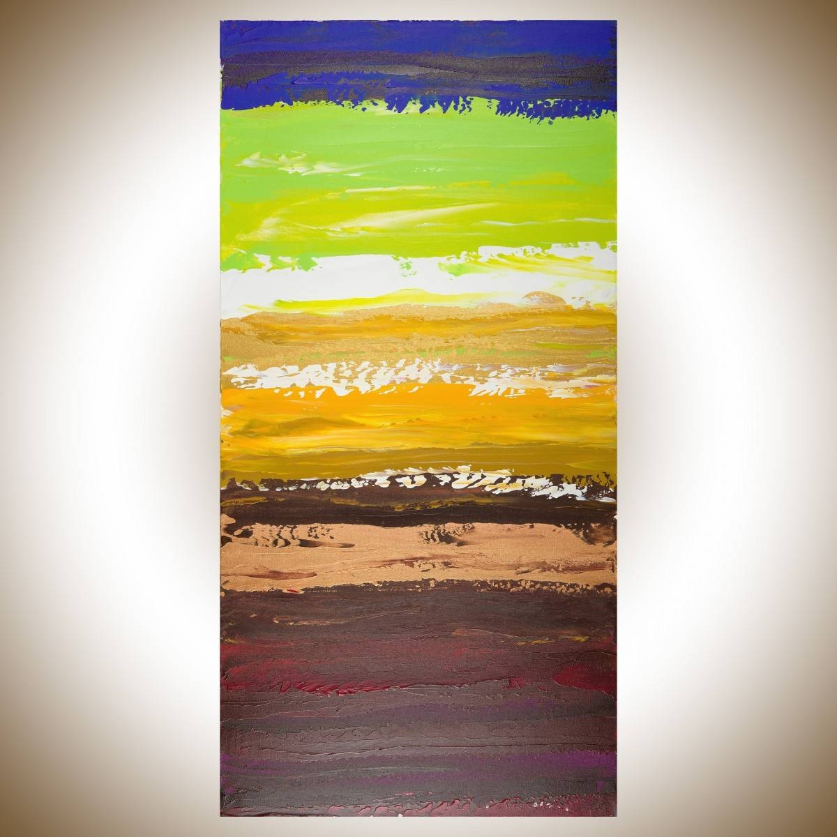 "Colorful Abstract 2Qiqigallery 48""x24"" Original Modern In Current Colorful Abstract Wall Art (View 9 of 20)"