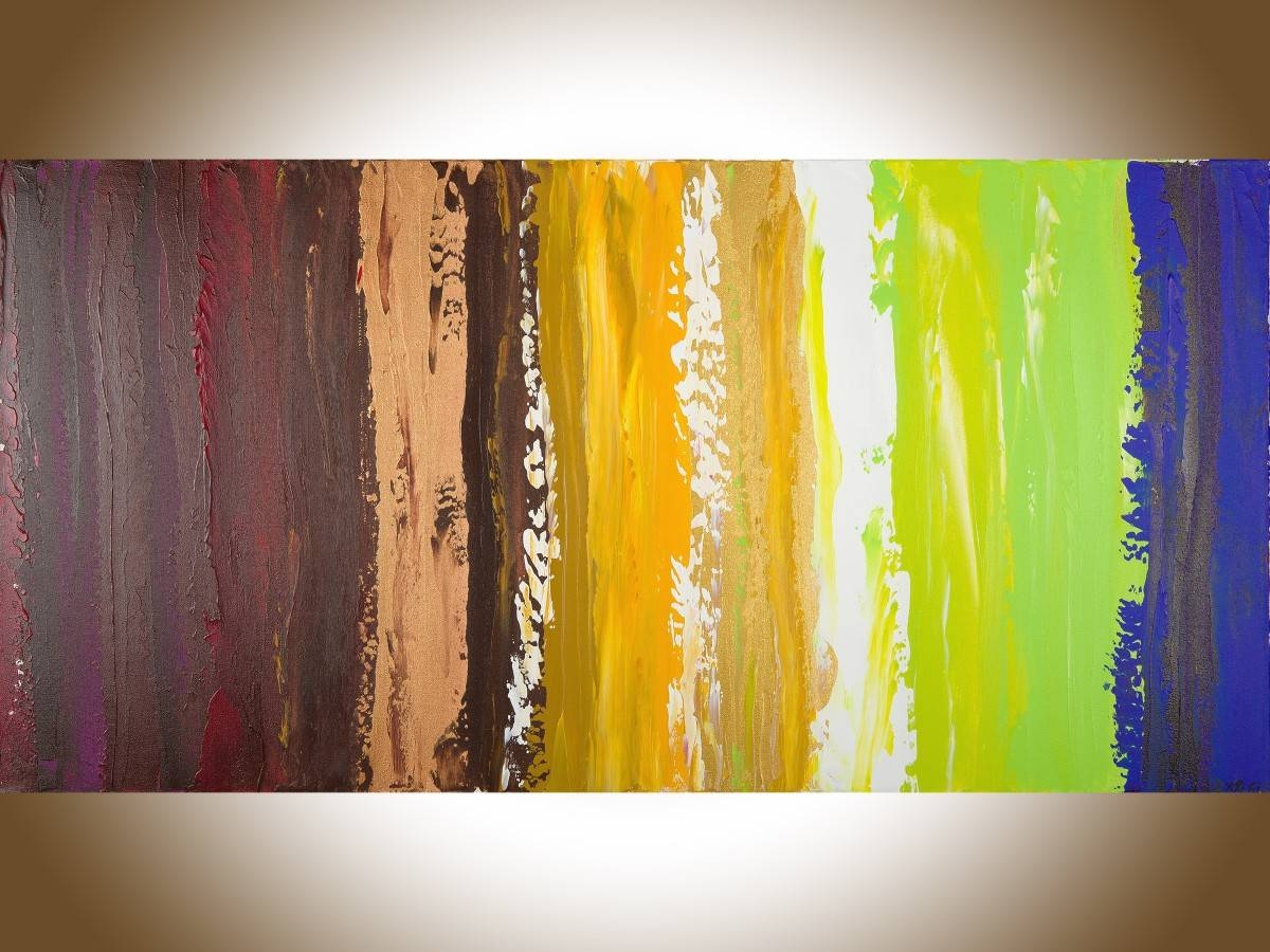 "Colorful Abstract 2Qiqigallery 48""x24"" Original Modern Throughout Current Colorful Abstract Wall Art (View 10 of 20)"