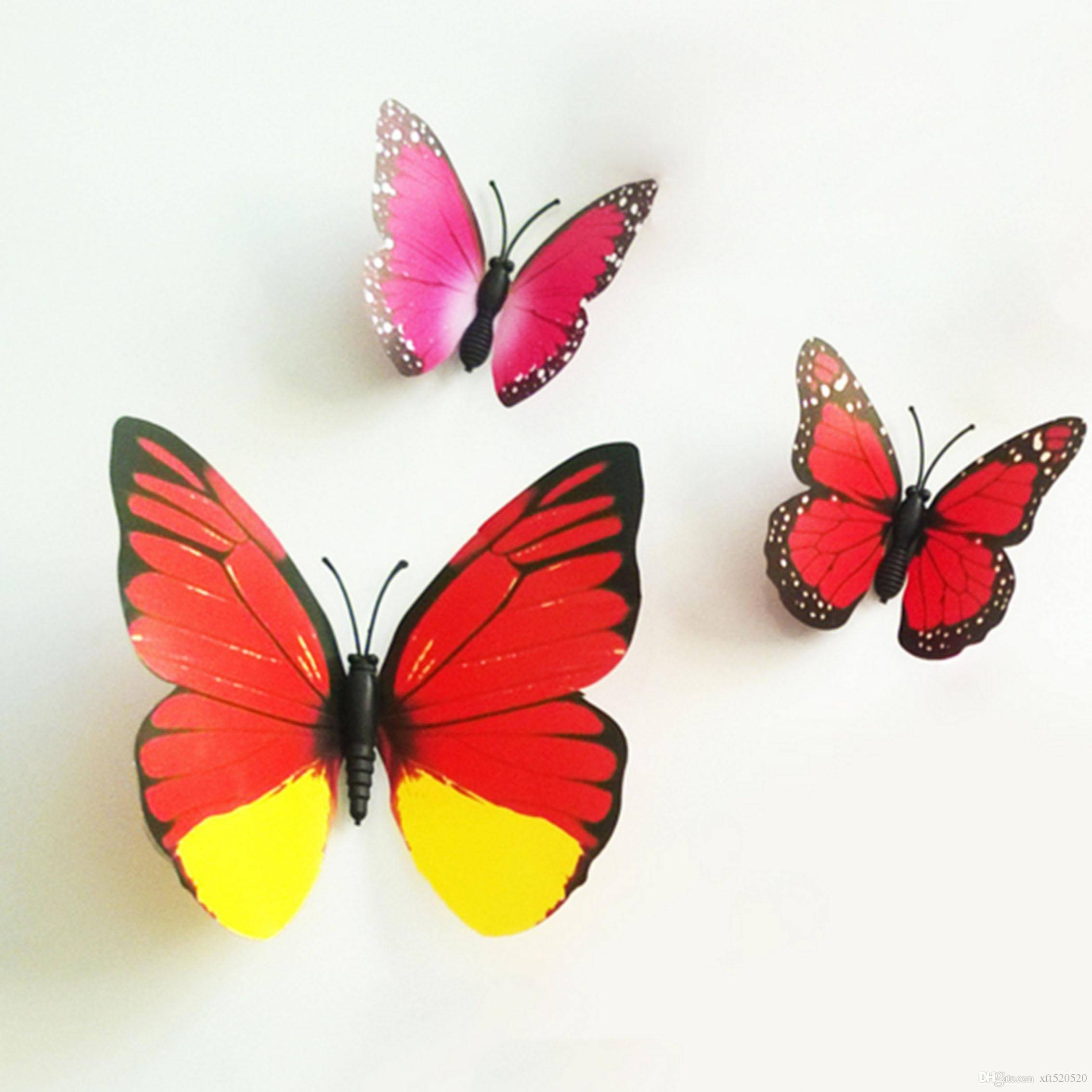 Colorful Design Art 3D Butterfly Wall Stickers Wall Decor Plastic Within Latest 3D Butterfly Wall Art (View 12 of 20)