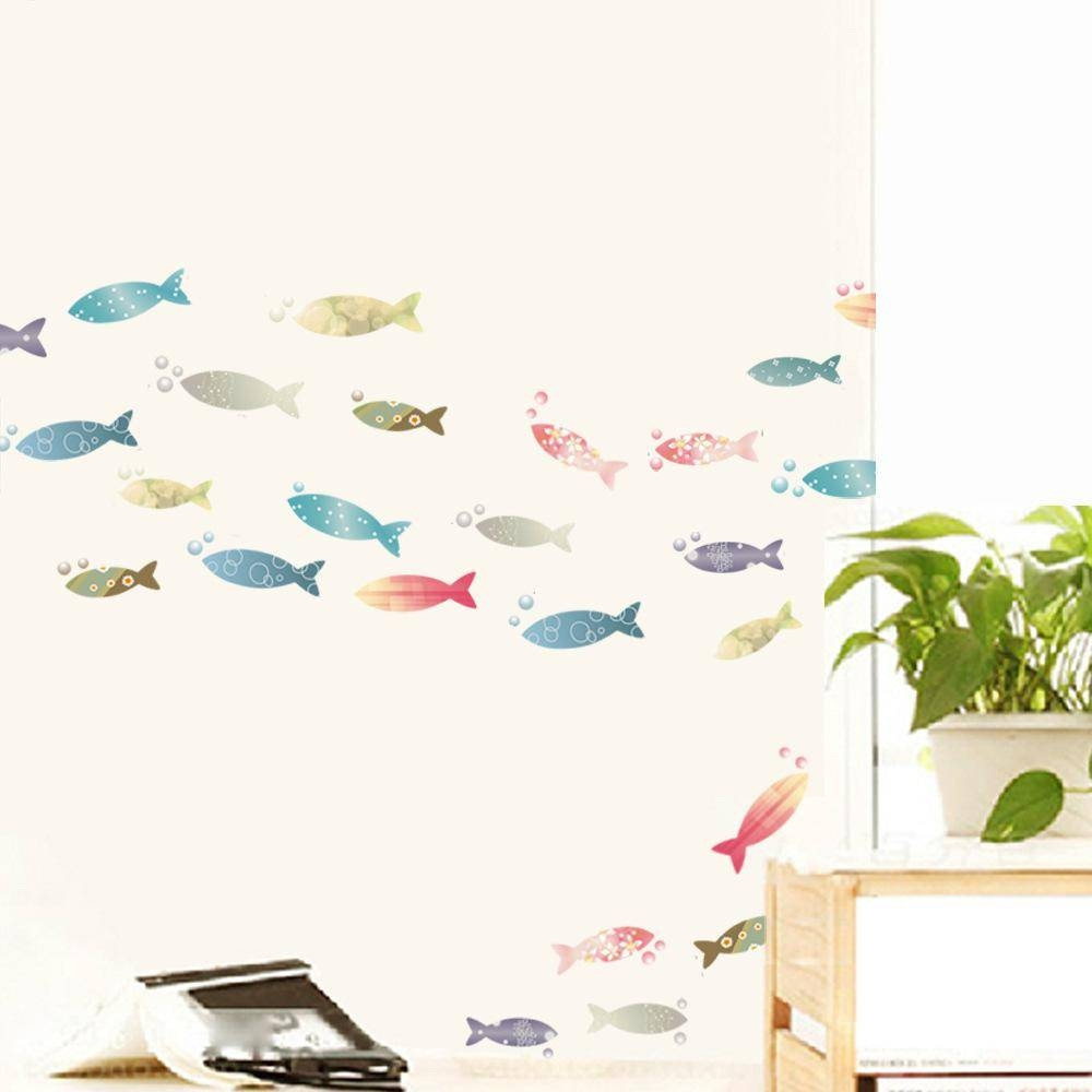 Colorful Fish Art Mural Sticker Decor Bathroom Kitchen Cup Laptop Inside 2018 Fish Decals For Bathroom (View 6 of 30)