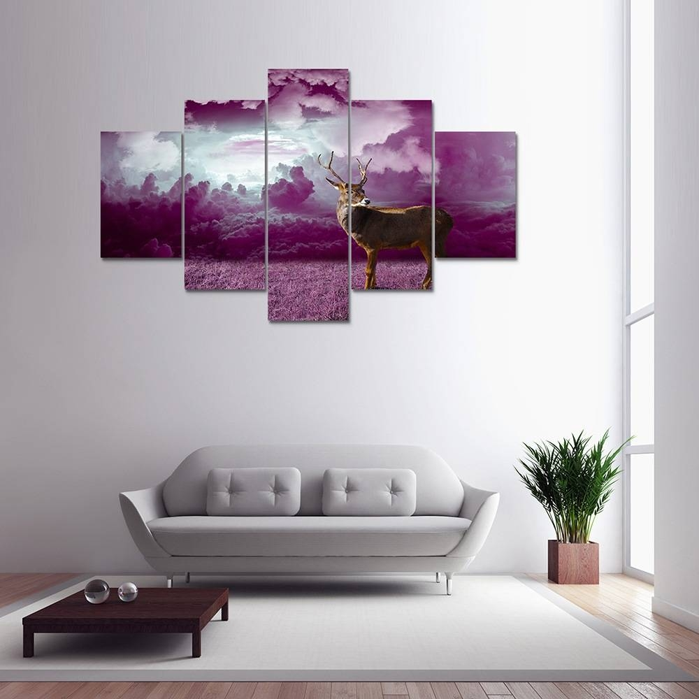 Colormix Purple Clouds Deer Painting Home Decoration Wall Art Pertaining To Most Popular Purple Wall Art Canvas (View 8 of 20)