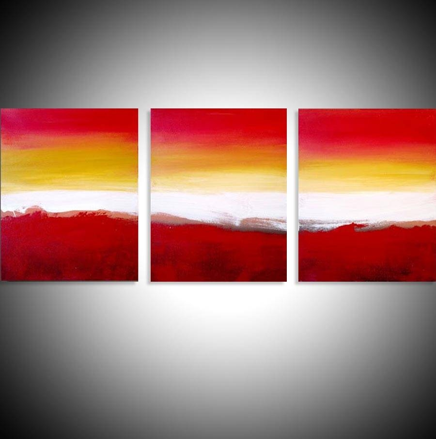 """Colour Slats"""" Abstract Artists Triptych Art On Canvas With Recent Triptych Art For Sale (View 15 of 20)"""