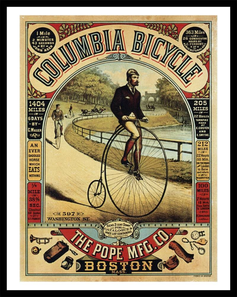 Columbia Bicycle Advertisement – Antique Bike Ad Poster – Old Maps Intended For Most Up To Date Cycling Wall Art (View 7 of 25)