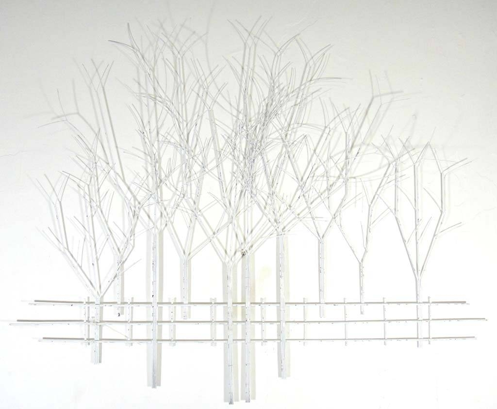 Compact Large White Metal Wall Art Image Of Contemporary Metal In Recent Tree Wall Art Sculpture (View 3 of 20)
