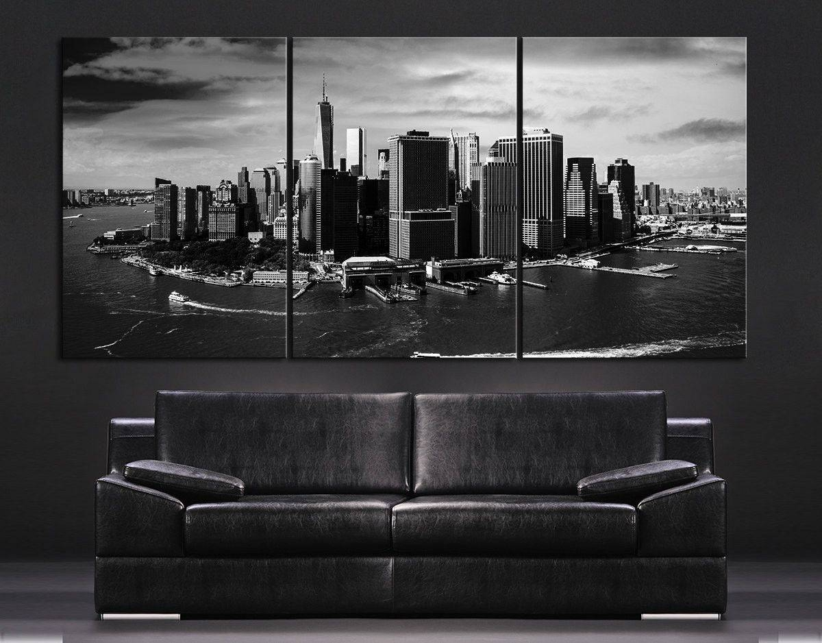 Compact New York Skyline Wall Art Stickers New York Skyline Canvas Pertaining To Current Black And White New York Canvas Wall Art (View 4 of 20)