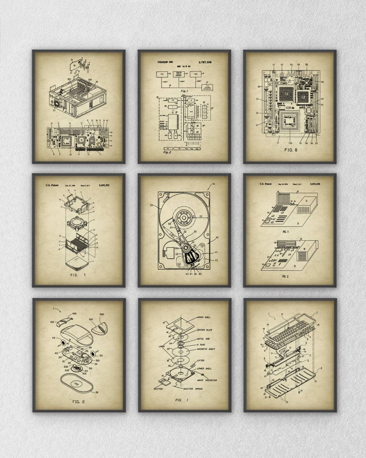 Computer Patent Wall Art Set Of 9 Computer Component Design With Most Popular Computer Wall Art (View 11 of 20)