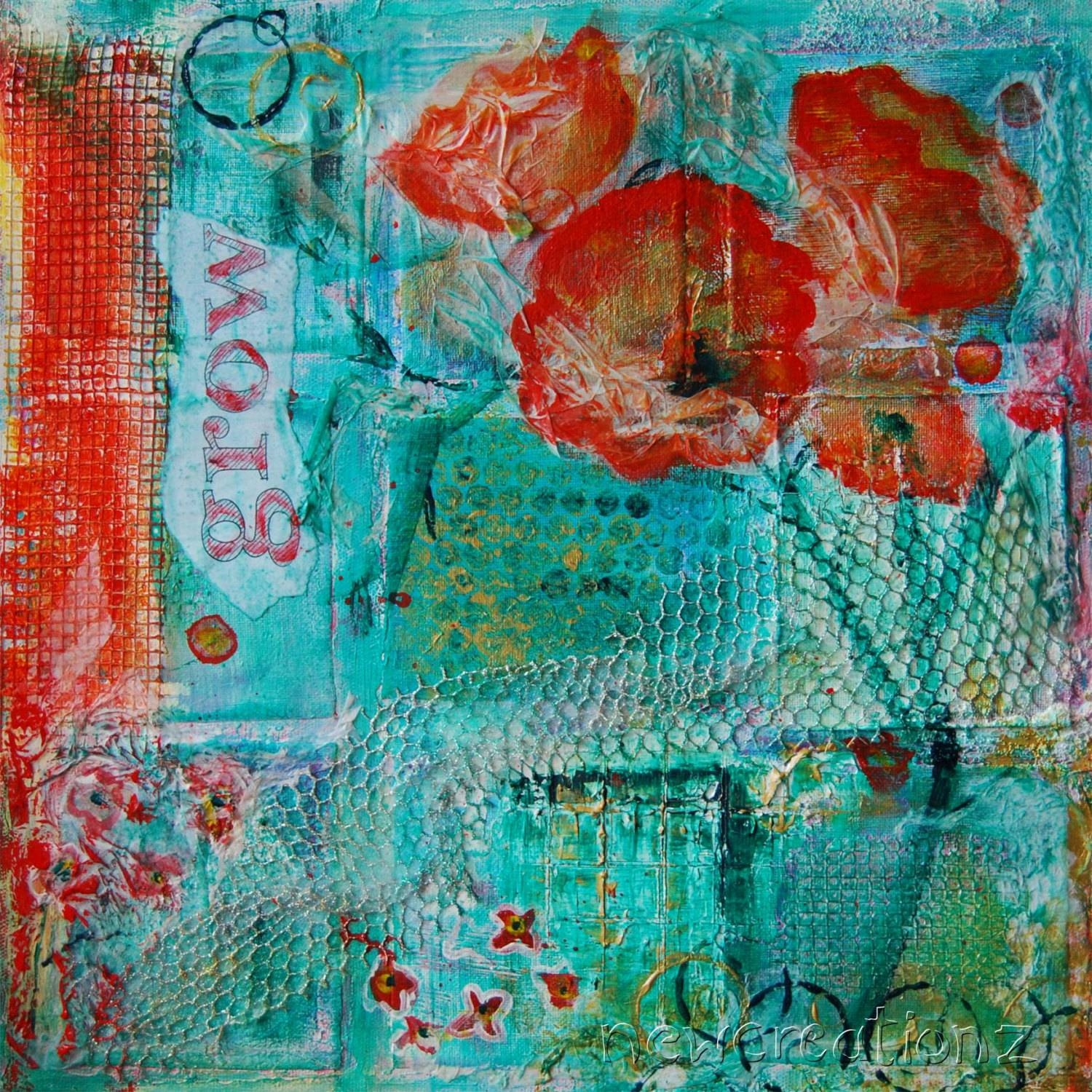 Contemporary Fine Art Mixed Media Painting Print Flower Word Throughout Most Current Orange And Turquoise Wall Art (View 10 of 20)