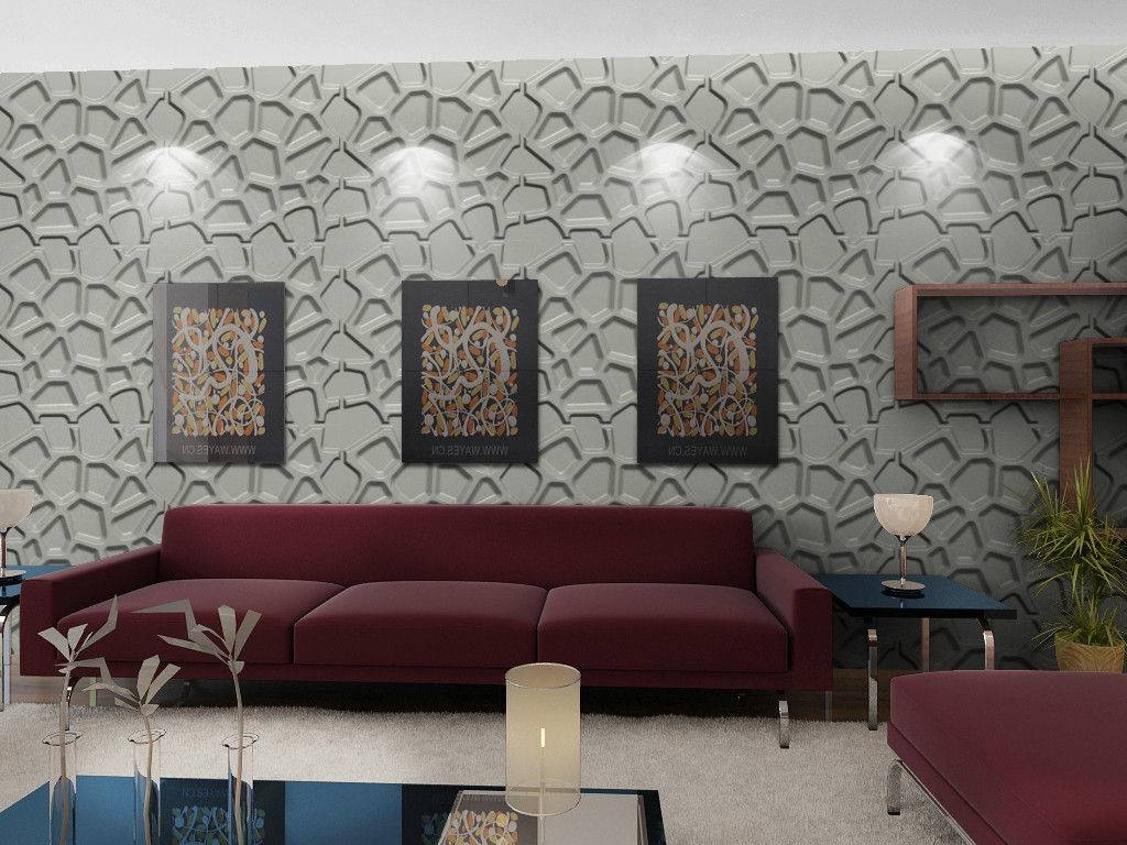 Contemporary Living Room Design Featuring Crack Pattern Wall Panel For Newest 3d Wall Art For Living Room (View 11 of 20)