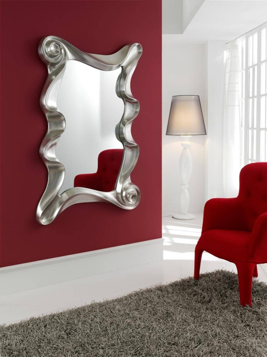 Contemporary Mirror In White Or Silver Finish Best Large Designer Throughout 2018 Contemporary Mirror Wall Art (View 5 of 20)