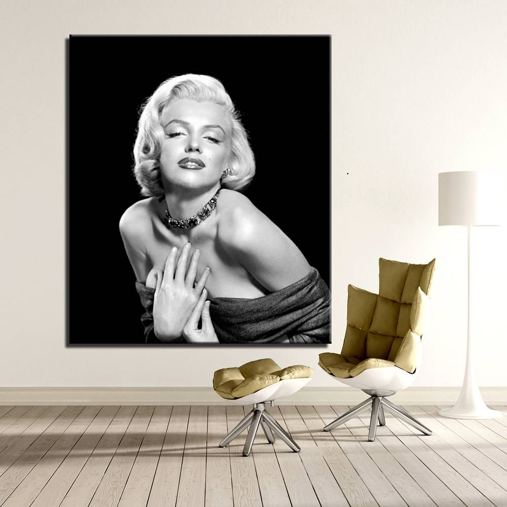 Contemporary Oil Painting Modern Home Wall Art Marilyn Monroe Room Regarding Most Recently Released Marilyn Monroe Black And White Wall Art (View 14 of 15)