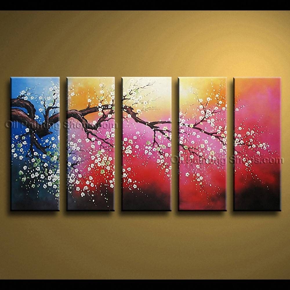 Contemporary Wall Art Floral Painting Cherry Blossom Oil On Canvas Inside Best And Newest Large Contemporary Wall Art (View 6 of 20)