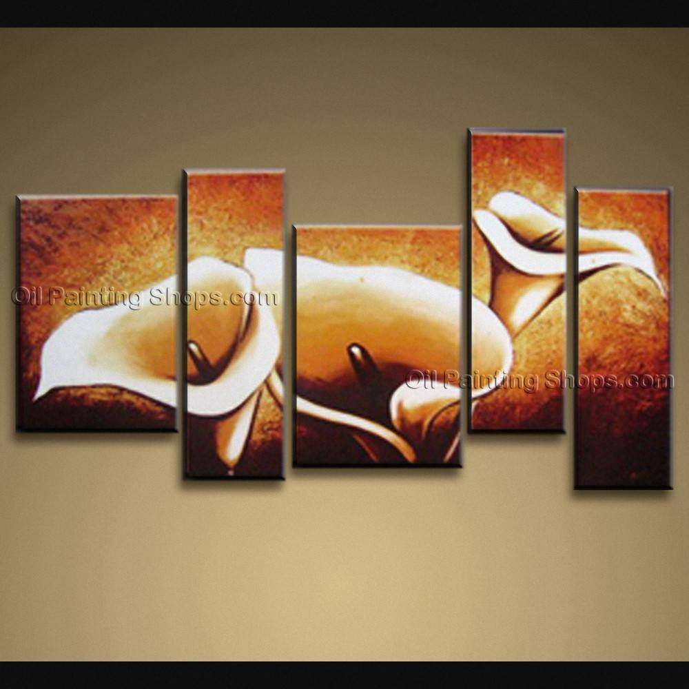 Contemporary Wall Art Floral Painting Lily Contemporary Decor For Most Current Contemporary Wall Art (View 6 of 20)