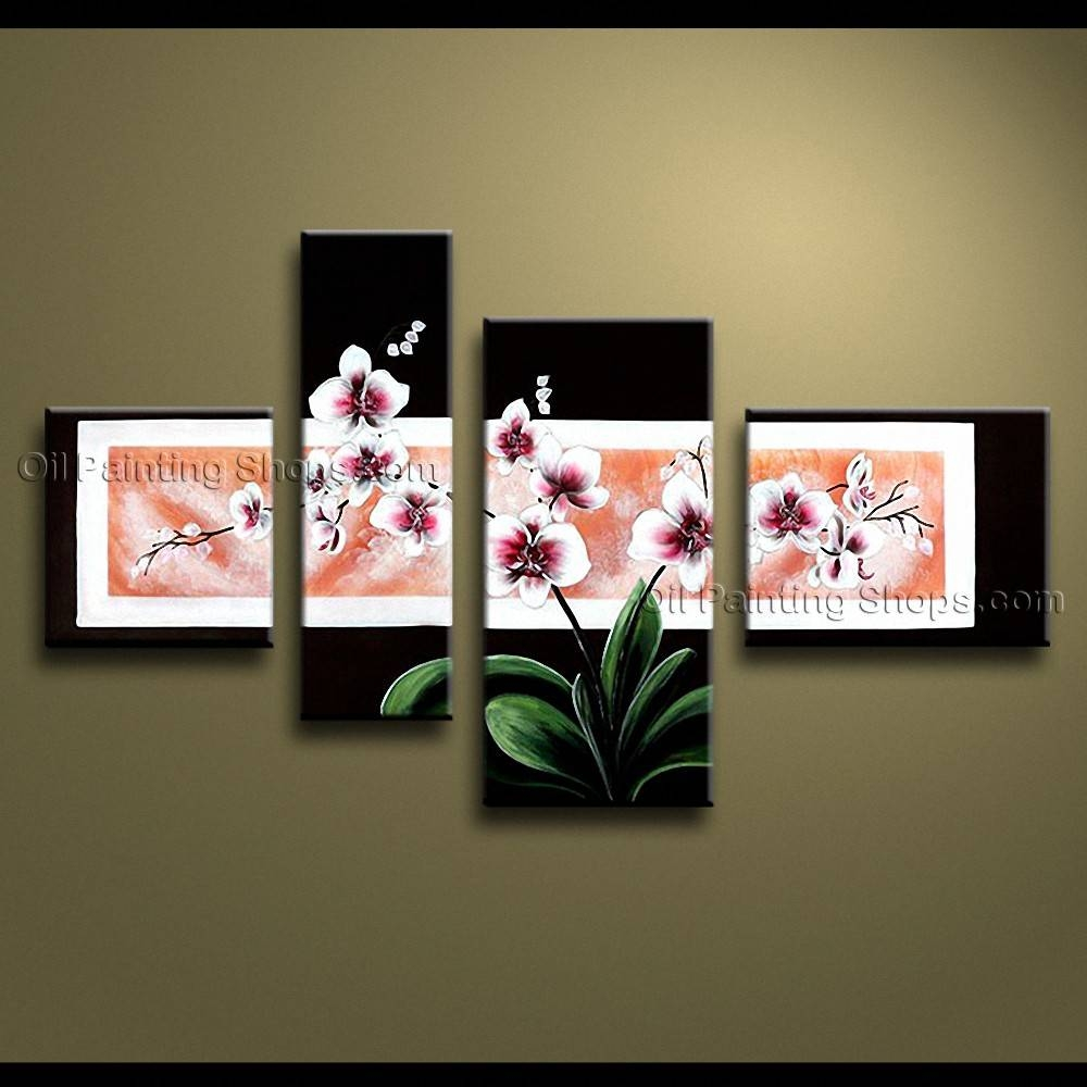 Contemporary Wall Art Floral Painting Orchid Flowers Artwork Within Most Recent Large Modern Wall Art (View 8 of 20)