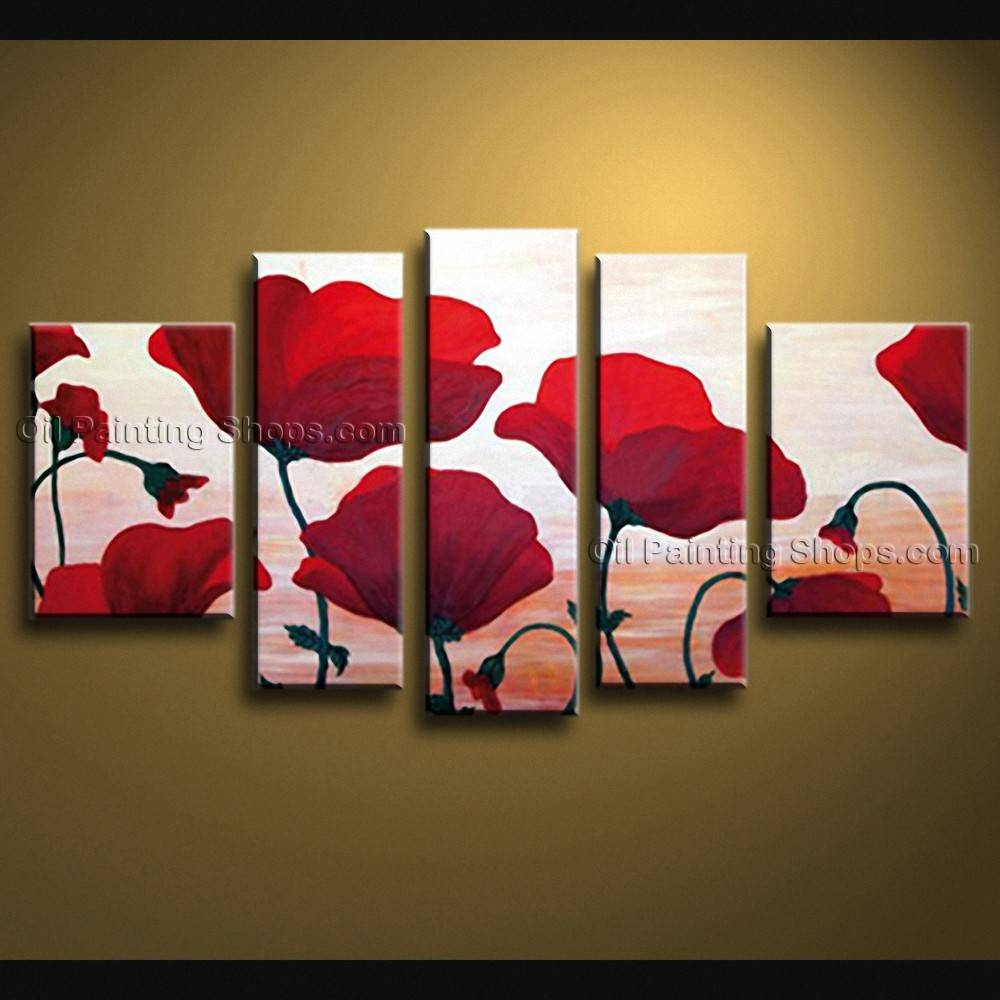 Contemporary Wall Art Floral Painting Poppy Decoration Ideas For Most Popular Contemporary Wall Art (View 7 of 20)
