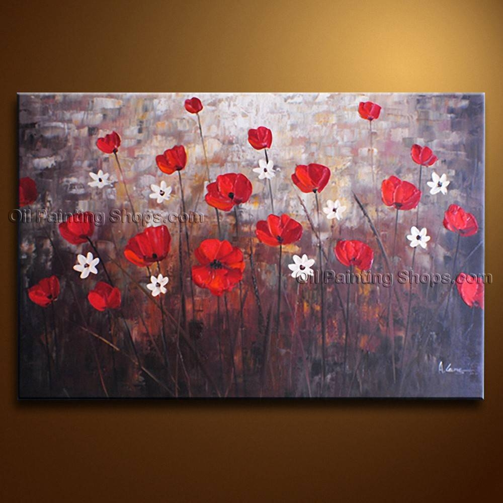 Contemporary Wall Art Floral Painting Poppy Flower On Canvas Pertaining To Current Red Poppy Canvas Wall Art (View 16 of 20)