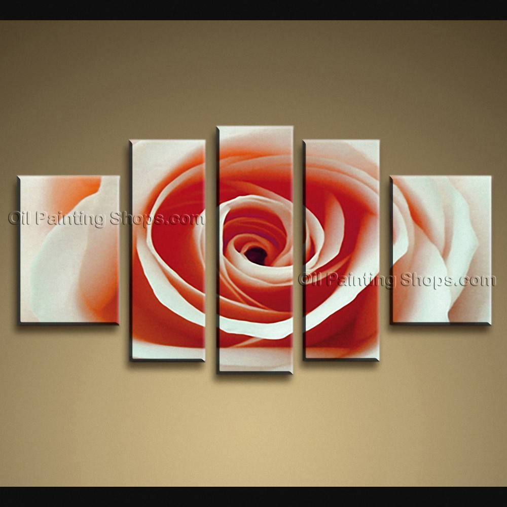 Contemporary Wall Art Floral Painting Rose Flower On Canvas Inside Recent Contemporary Wall Art (View 3 of 20)