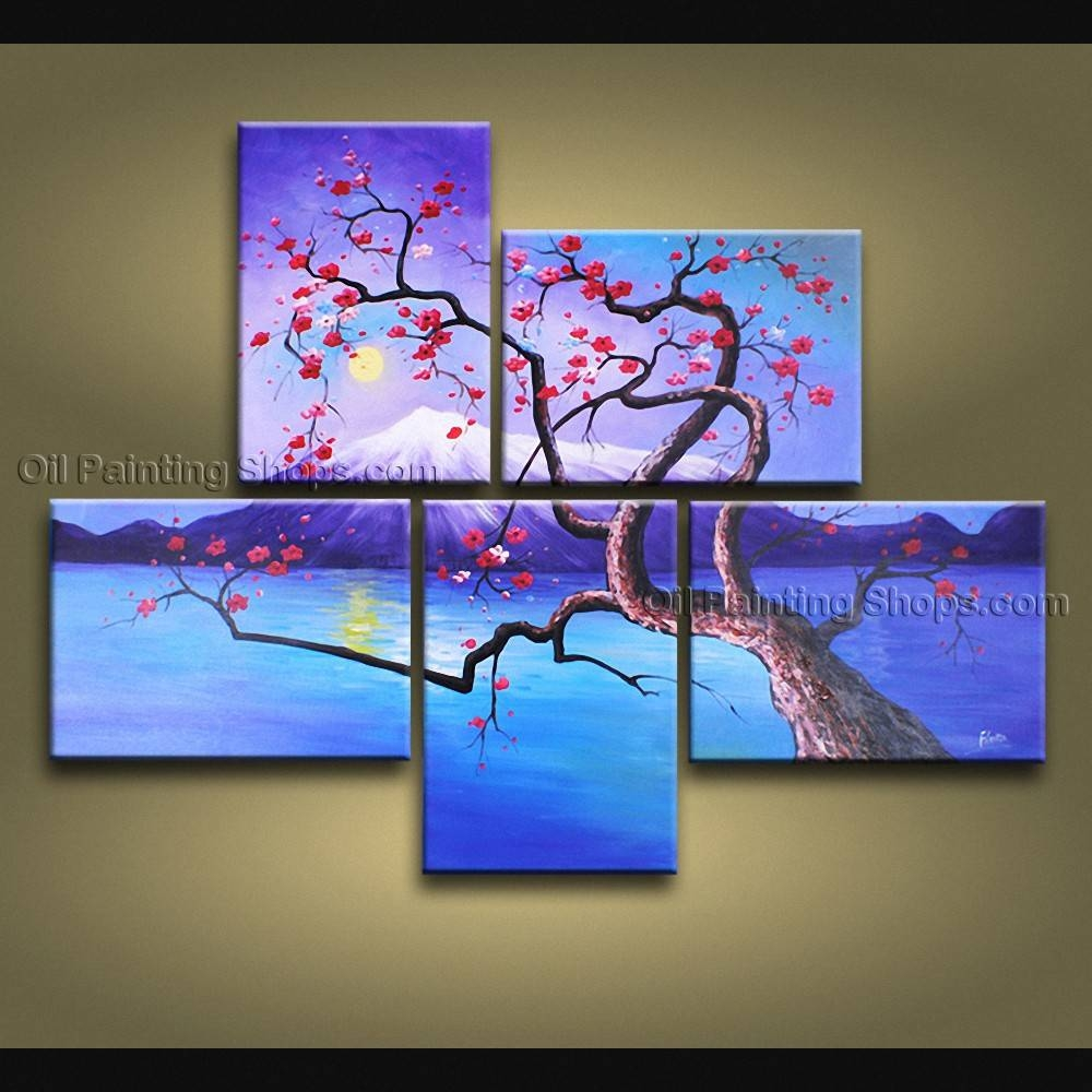 Contemporary Wall Art Floral Plum Blossom Interior Design Throughout 2018 Multiple Canvas Wall Art (View 13 of 20)