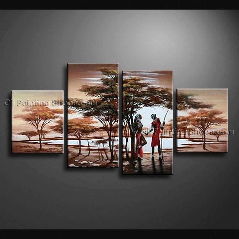 Contemporary Wall Art Landscape Painting Africa Sunset Scene Within Most Current Large Modern Wall Art (View 9 of 20)