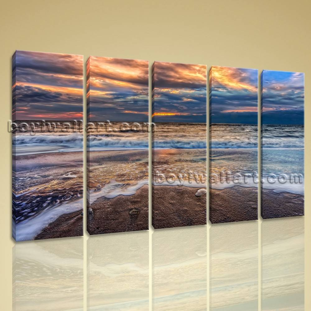 Contemporary Wall Art On Canvas Hd Print Seascape Beach Sunrise Scene Regarding Newest Large Modern Wall Art (View 15 of 20)