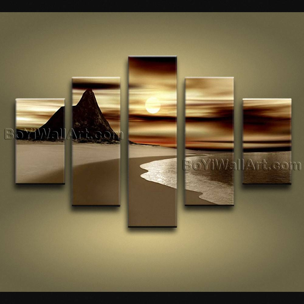 Contemporary Wall Art Seascape Painting Sunrise Inner Framed For 2018 Contemporary Wall Art (View 10 of 20)
