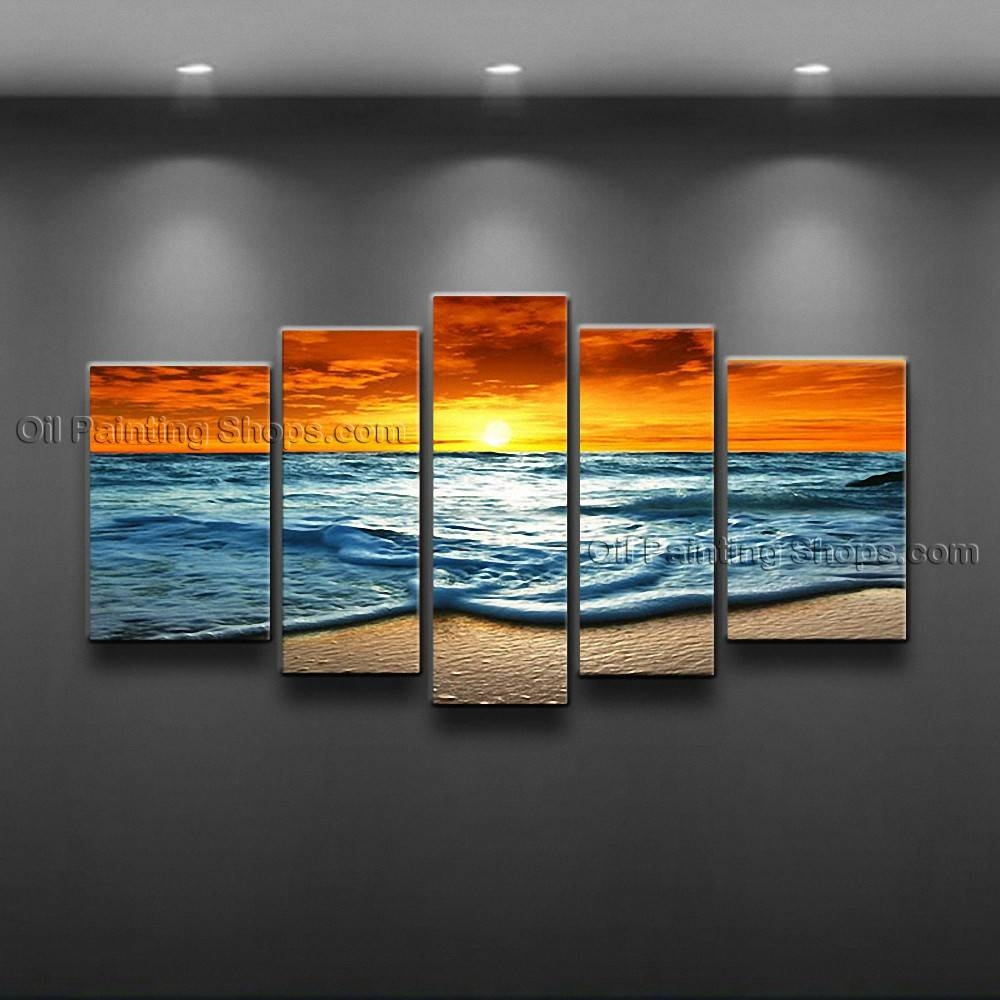 Contemporary Wall Art Seascape Painting Sunset Scenery Pictures Pertaining To Most Up To Date Large Contemporary Wall Art (View 9 of 20)