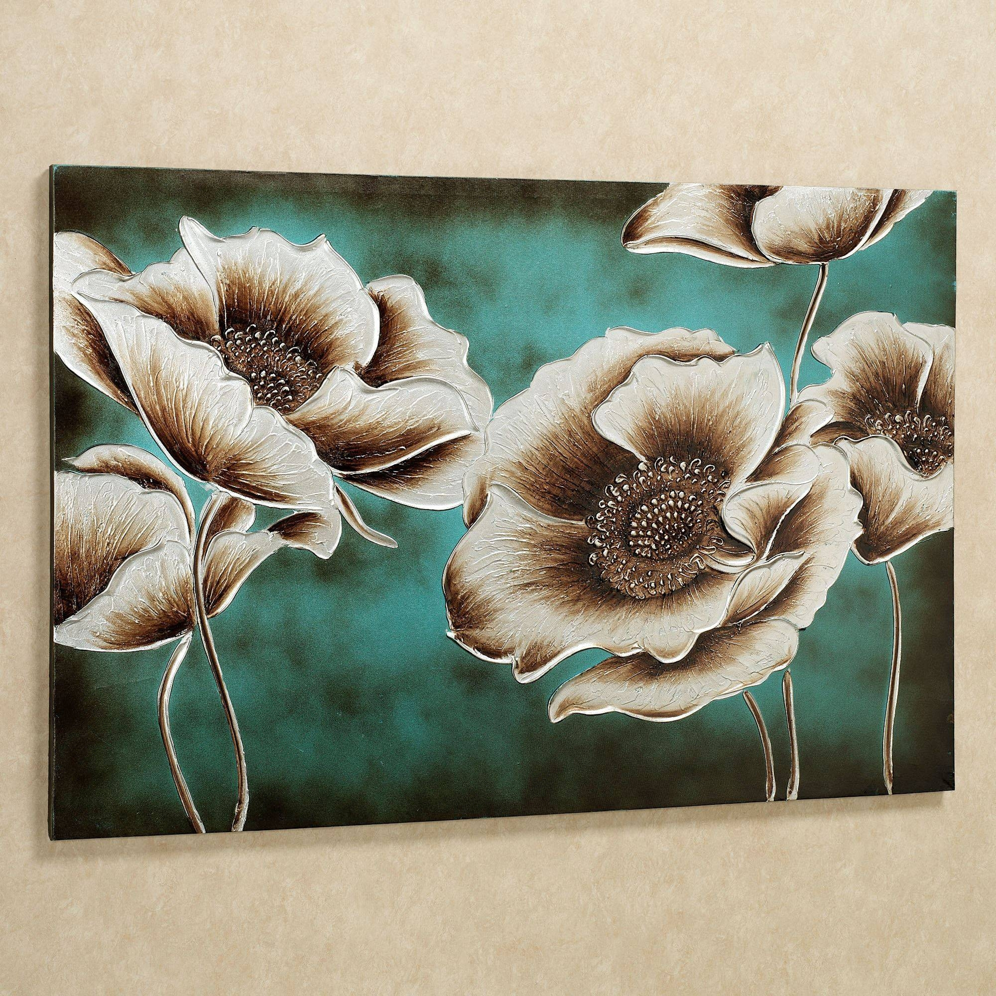 Cool Design Ideas Piece Canvas Wall Artblack Teal Flower Canvas Pertaining To Most Current Teal Flower Canvas Wall Art (View 2 of 20)