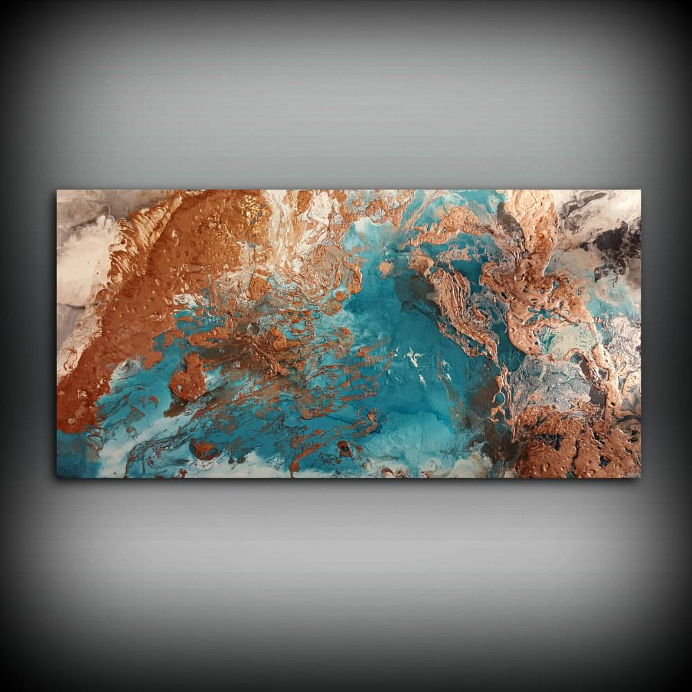 Copper Coastal Painting 24 X 48 Acrylic Painting With Newest Large Copper Wall Art (View 10 of 30)