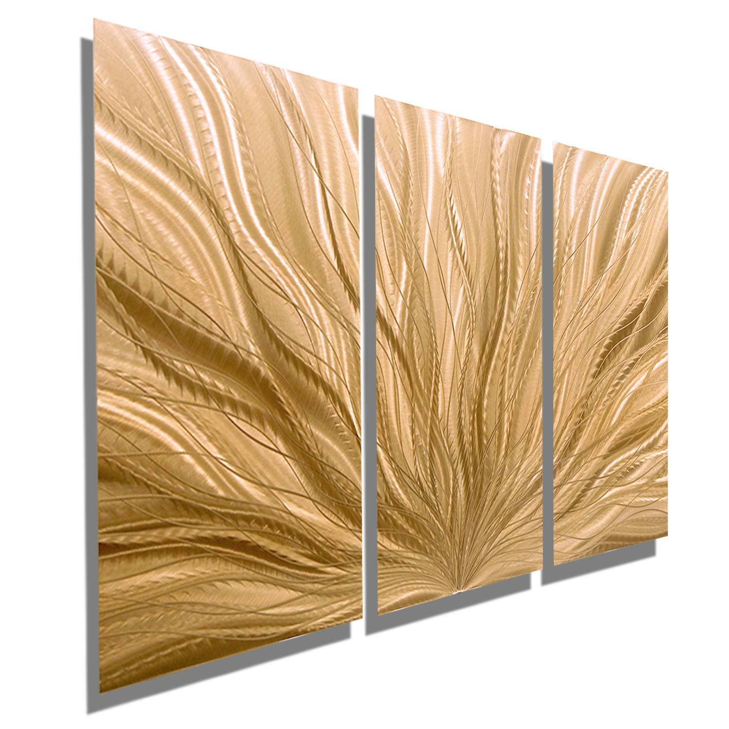 Copper Plumage 3 – Three Panel Light Copper Contemporary Metal Intended For 2018 Three Panel Wall Art (View 13 of 20)