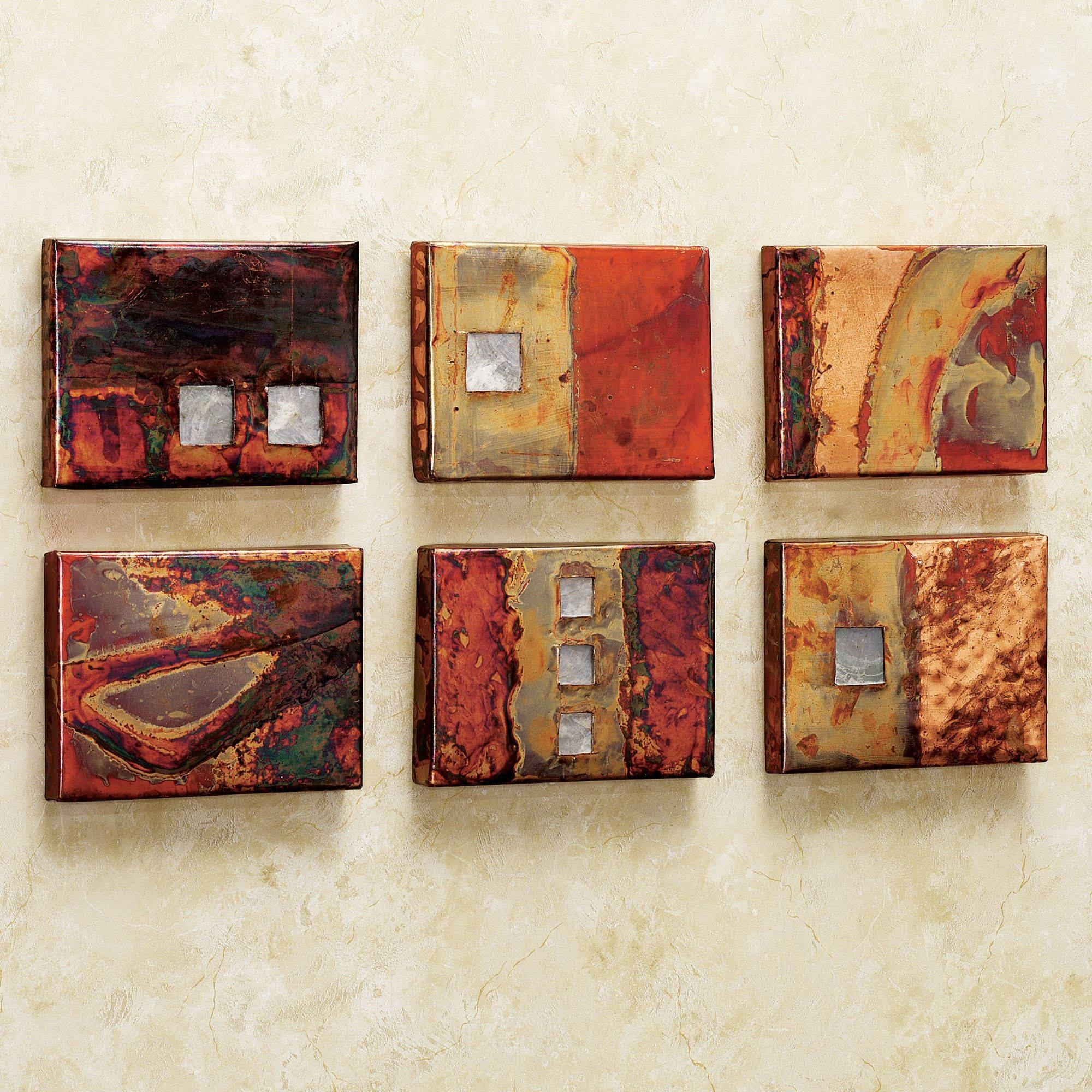 Copper Studio Metal Wall Art Tile Set With Regard To Most Up To Date Rectangular Metal Wall Art (View 3 of 20)