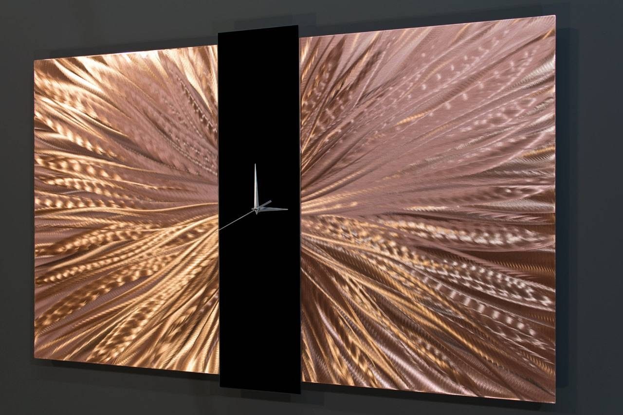 Copper Wall Clock Modern Metal Wall Art Large Wall Clock With Latest Large Copper Wall Art (View 8 of 30)
