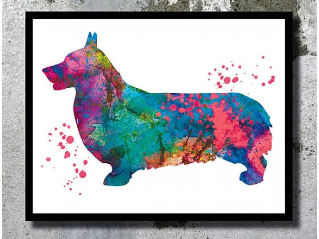 Corgi Watercolor Print Corgi Dog Art Print Dog Watercolor Home With Regard To 2018 Dachshund Wall Art (View 11 of 22)