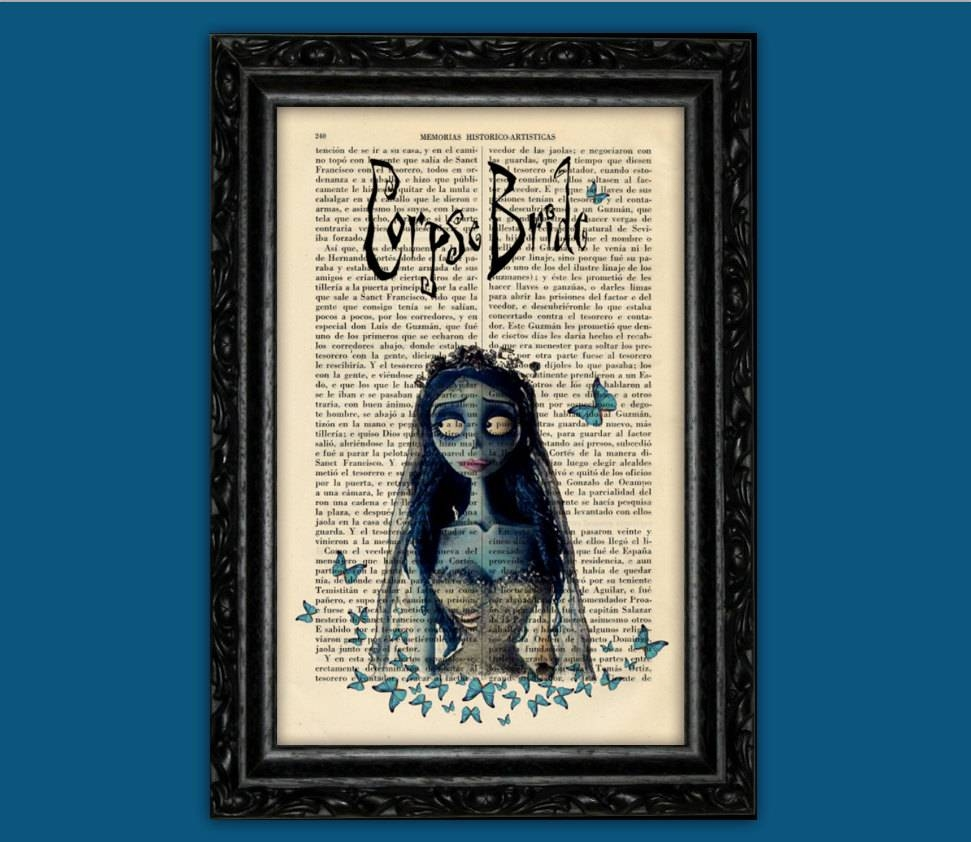 Corpse Bride Print Tim Burton Movie Art Poster Butterflies In Most Up To Date Tim Burton Wall Decals (View 18 of 20)