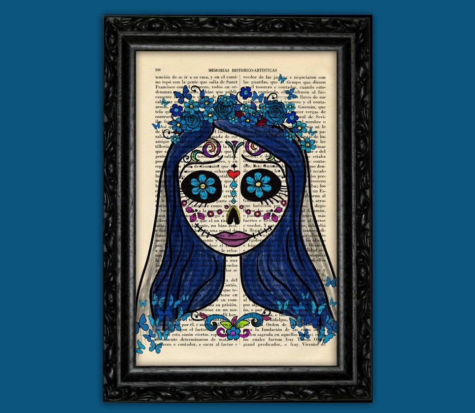 Corpse Bride Sugar Skull Print Tim Burton Inspired Halloween Intended For Best And Newest Tim Burton Wall Decals (View 4 of 20)