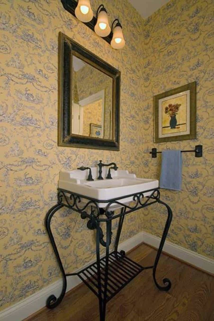 Country French Style Interior Powder Room With Wallpaper And With Regard To Current Country French Wall Art (View 9 of 30)
