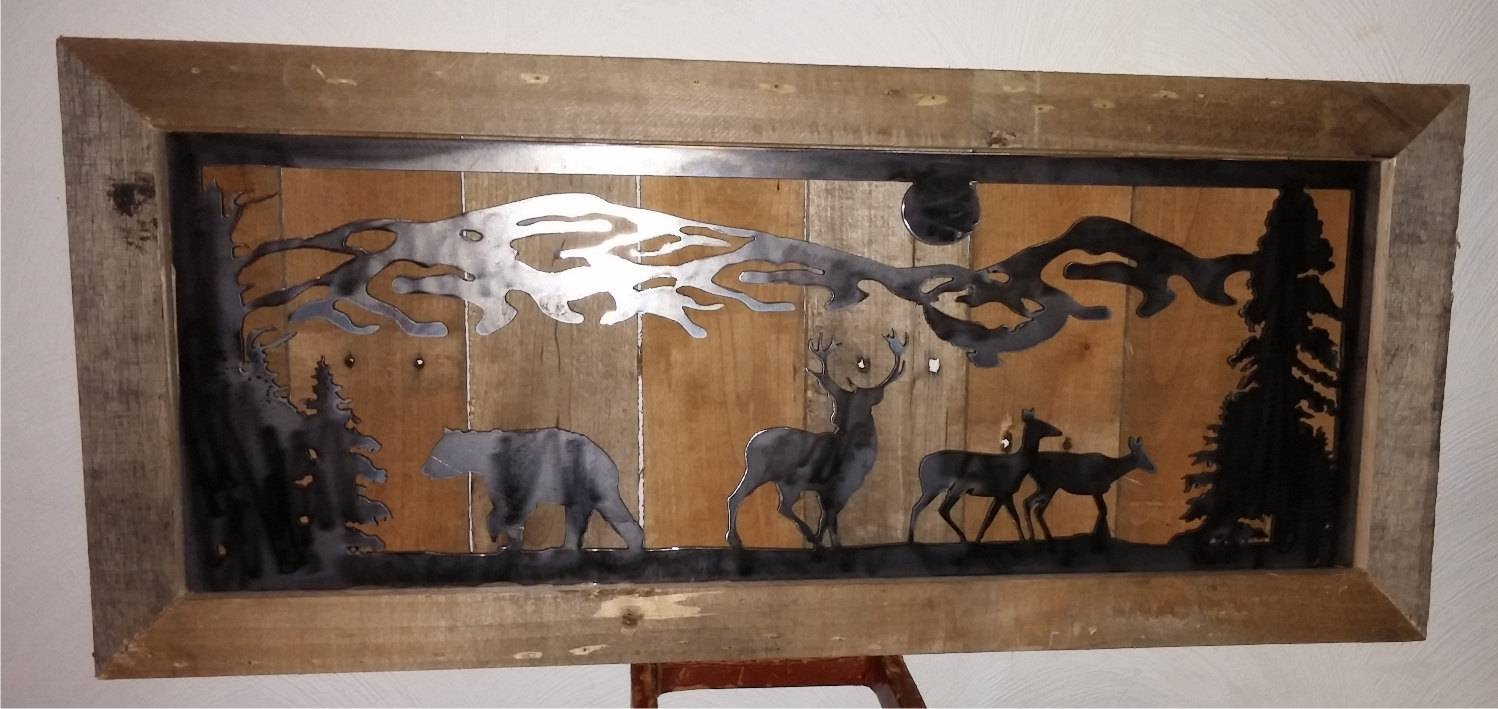 Country Mountain Bear Deer Metal Cut Metal Repurposed In Most Current Country Metal Wall Art (View 9 of 30)