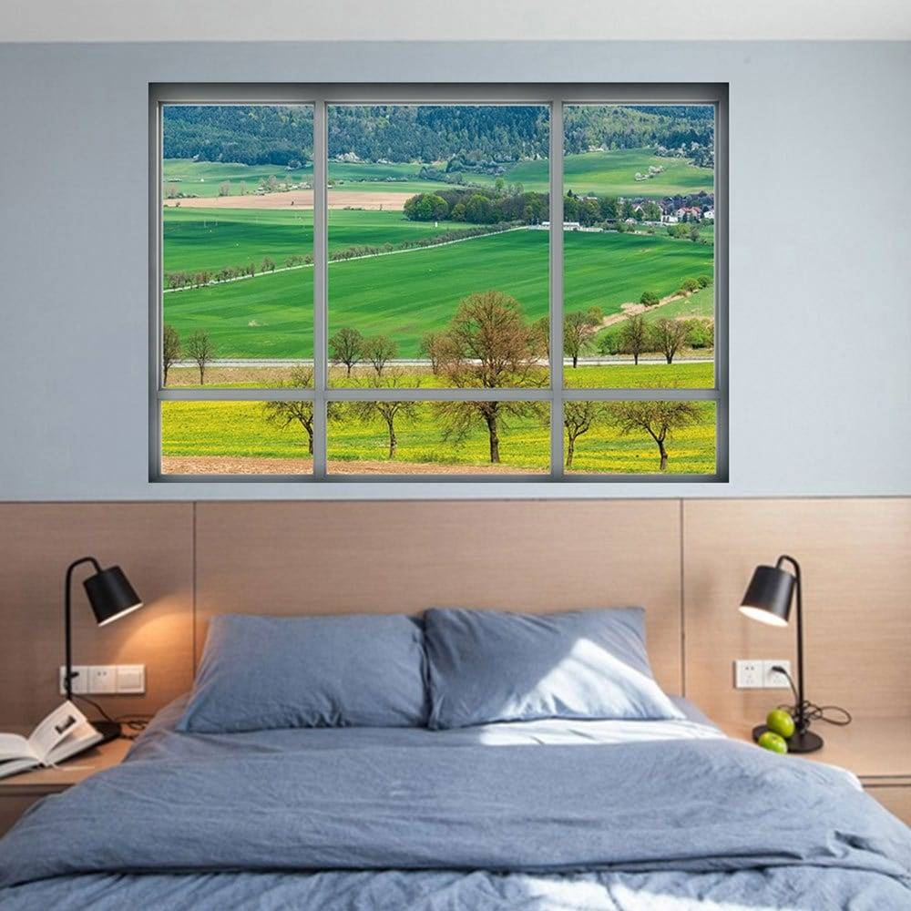 Countryside View Vinyl 3d Wall Art Sticker, Green, (View 7 of 20)