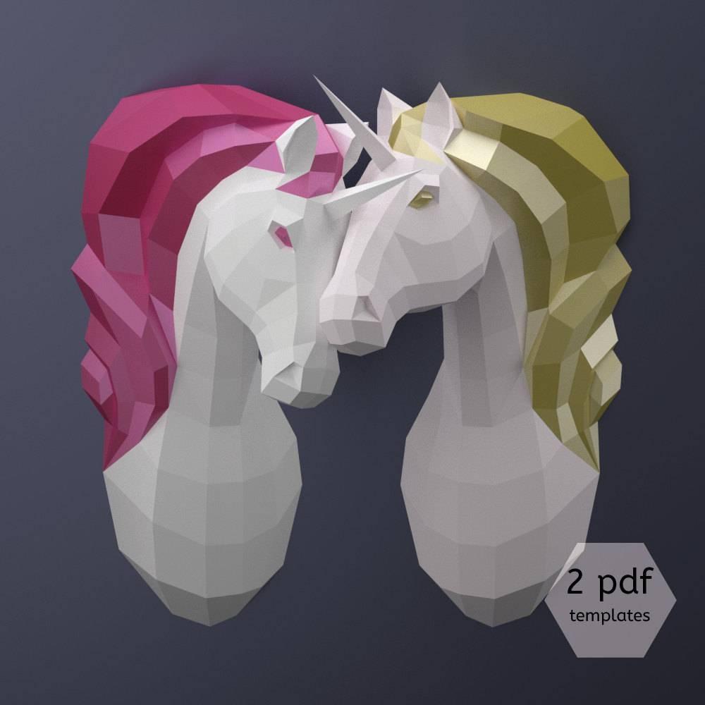 Couple Of Unicorns Diy Paper Unicorns Printable Pdf Inside Newest 3D Paper Wall Art (View 11 of 25)