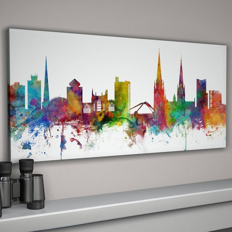 Coventry Skyline Cityscapeartpause | Notonthehighstreet For Most Recent Cityscape Canvas Wall Art (View 10 of 20)