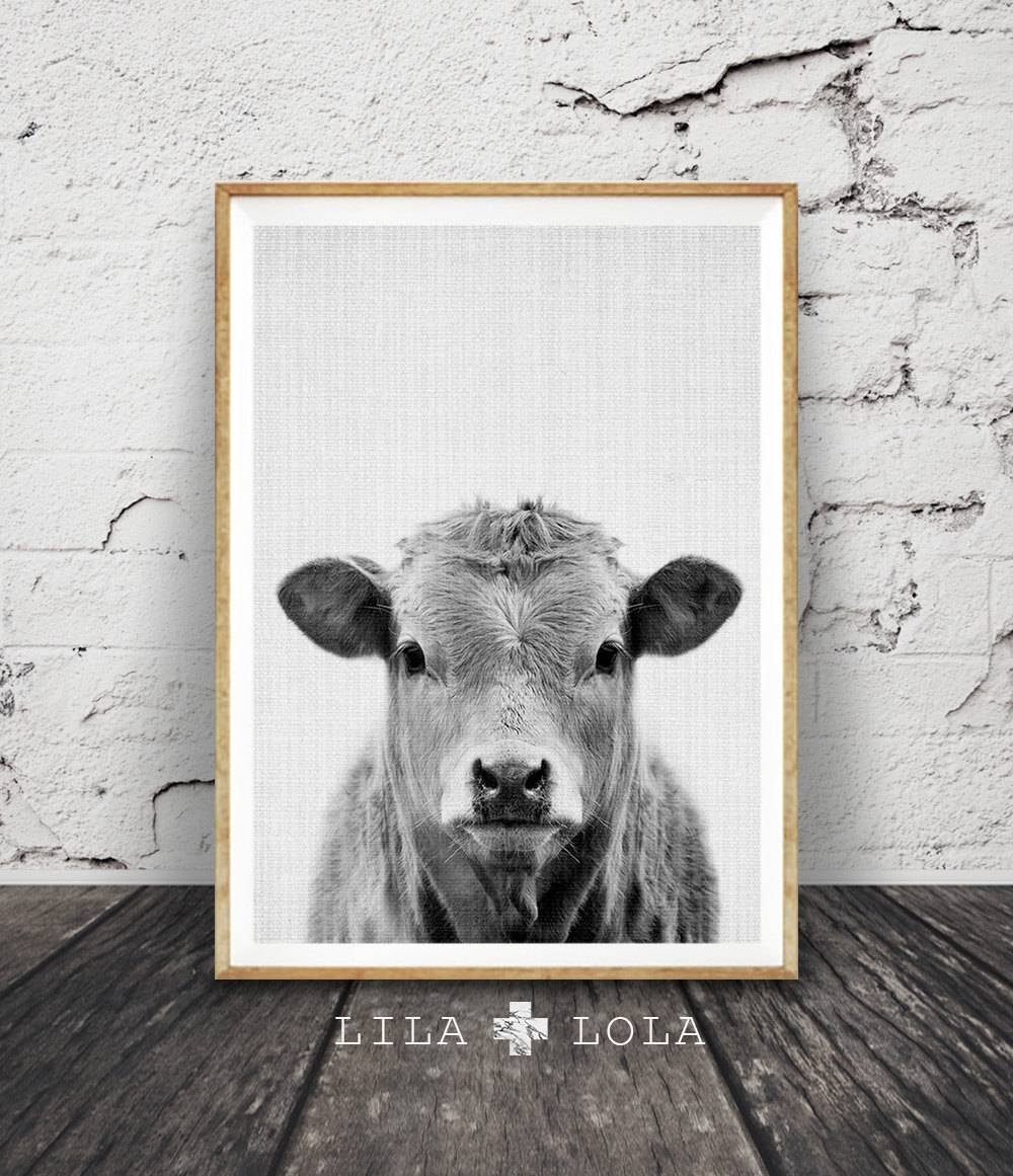 Cow Print Nursery Farm Animal Wall Art Black And White Intended For Best And Newest Black And White Wall Art (View 10 of 16)