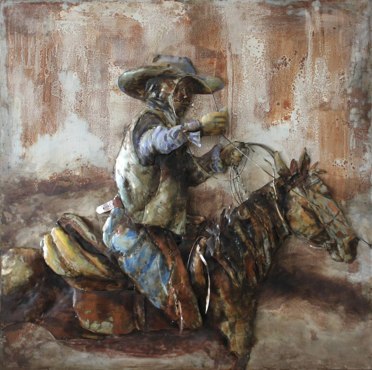 Cowboy Horse Side 3D Metal Wall Art Hand Painted In Latest 3D Metal Wall Art (View 7 of 20)