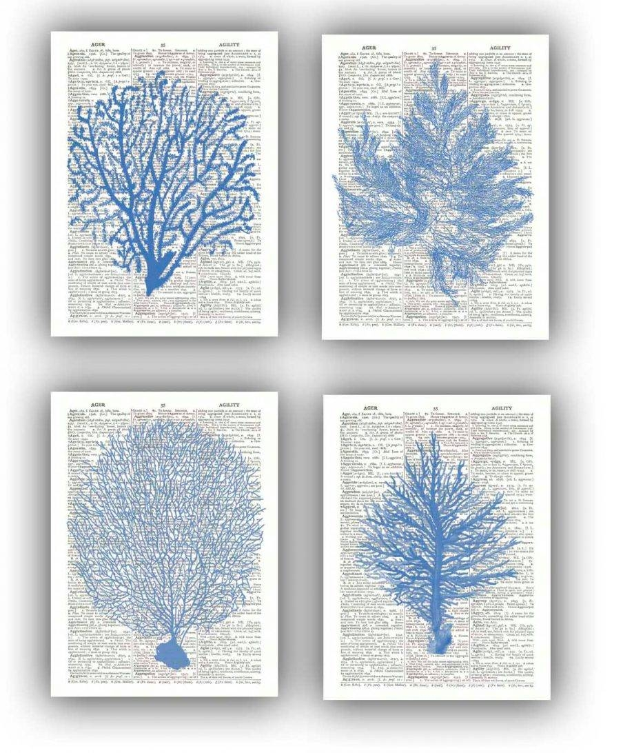 Cozy Coral Baby Wall Decor Seafan Ocean Blue Prints Design Decor Within Newest Sea Fan Wall Art (View 5 of 25)