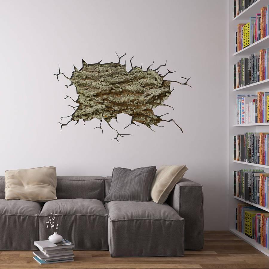 Cracked Wall Tree Bark Vinyl Wall Artvinyl Revolution Regarding Recent Vinyl Wall Art Tree (View 6 of 20)