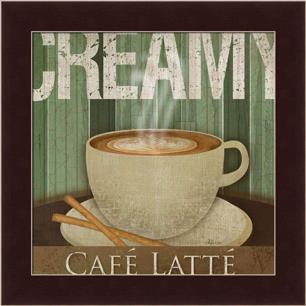 Creamy Café Latte Kitchen Décor Coffee Sign Framed Art Print Wall Pertaining To Recent Cafe Latte Kitchen Wall Art (View 18 of 30)